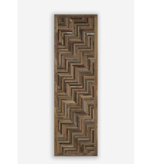 "79"" X 24""  Grand Atlas 3D Chevron Pattern Recycled Wood Wosaic (24x2x79)"