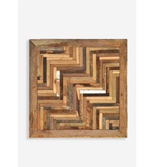 "(LS) 24"" X 24"" Atlas 3D Chevron Pattern Recycled Wood Mosaic (min 2 pcs) (24x1.5x24).."