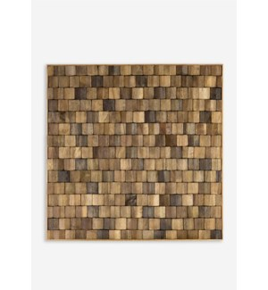 (LS) Diamond Wood Mosaic Wall Decor..(18x1.5x18)