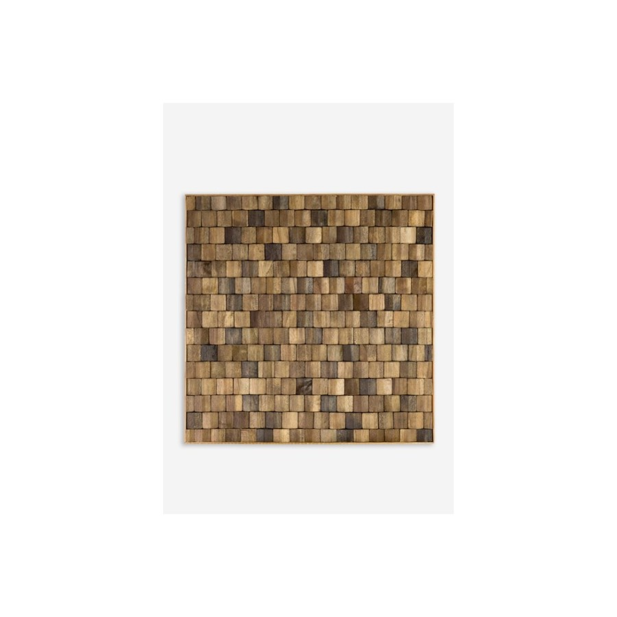 (LS) Diamond Wood Mosaic Wall Decor..(18x1.5x18)