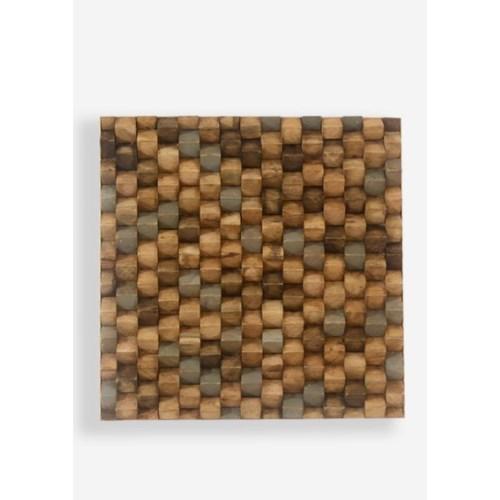(LS) Terrace Wood Mosaic Wall Decor..(18x2x18)..