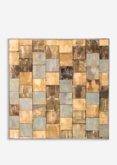 (LS) 3D Wood Mosaic Wall Decor..(18x1.7x18)..