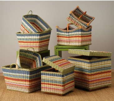 (LS) Funstripes Square basket Set-5 (22x22x16)