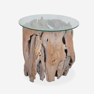 (SP) Natura Abstract Side Table W/Glass (Glass packed seperately)..(20x20x21)