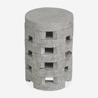 Open  Slat Wooden End Table in White Wash..