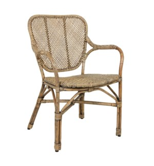 "Kai Antique Rattan Arm Chair  (24X25X34""H) - Natural Antique"