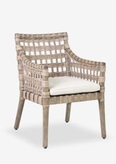 Danae Arm Chair with Square Rattan Weave with Cream Cushion (24x27.5x34)