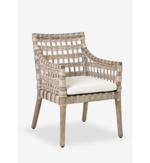 Danae Arm Chair with Square Rattan Weave with Cream Cushion (24x27.5x34)