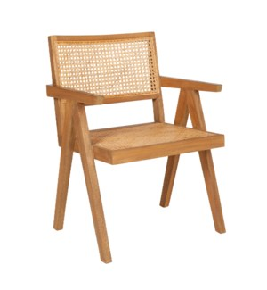 Franco Cane and Rattan Arm Chair