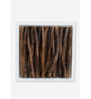 (LS) Amandra Wood Stick Wall Decor-White Frame (14x4x14)