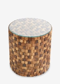 (LS) Diamond Wood Mosaic Round Side Table with glass top..(16X16X17)