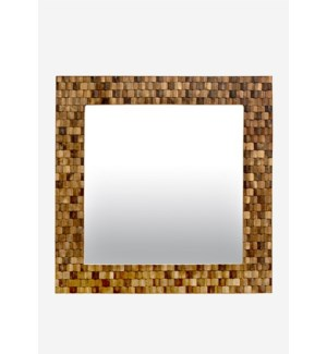 (LS) Diamond Wood Mosaic Square Mirror..(35X2X35)....