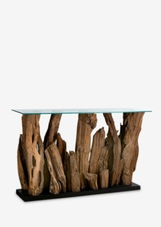 (LS) Kenya wood abstract console table with glass top(51X14X31.5)