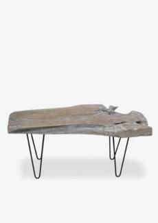 (LS) Natura Life Edges Coffee Table on Iron Base-White  (43X20X18)....