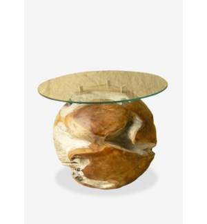 """(LS) Natura round  side table base (16X16X16) - """"INCLUDE GLASS"""""""