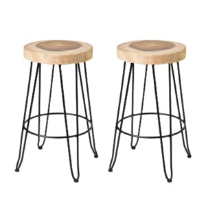 Fiona  Barstools in Iron Legs (Set of 2) (14.5x14.5x29) (package: 2pcs/box) priced per pair