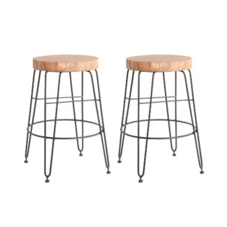 Fiona Counterstool in Iron Legs (14.5x14.5x24) MOQ 2