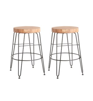 Fiona Counter Stools in Iron Legs (Set of 2) (14.5x14.5x24) (package: 2pcs/box) priced per pair