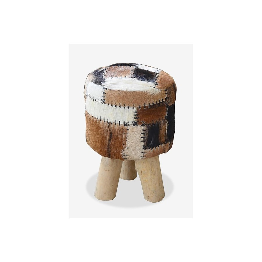 (LS) Safari Drum Stool With Leather Work (Patchwork) (12X12X18)....