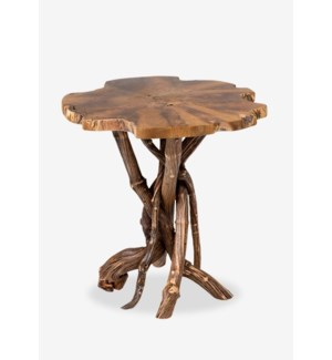 Roell teak top side table with natural root base - natural (20.5x20.5x20.5)