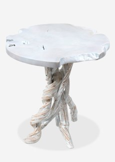 Roell teak top side table with natural root base - White wash (20.5x20.5x20.5)
