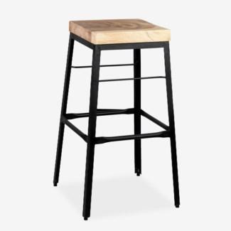 (LS) Organic Suar Wood Top Square Barstool  MOQ 2  (17x17x29)