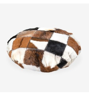Safari Round Pillow in Patchwork Design..