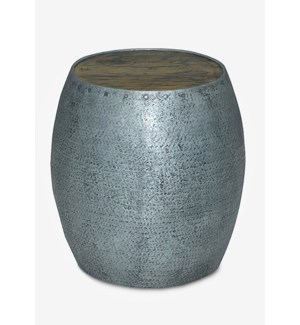 """(LS) 18"""" Congo Tempered Metal Drum Shape Stool With Solid Wood Top (17x17x18)"""