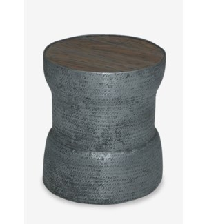"""(LS) 18"""" Congo Tempered Metal Side Table With Solid Wood Top (18x18x20)"""