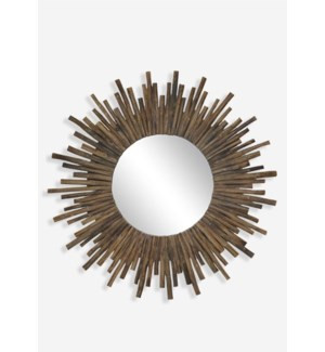 "(LS) 35"" Twig Sunburst Round Mirror in Natural..(35x2x35)"