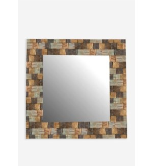 (LS) 3D Wood Mosaic Square Mirror..(35X2X35)..