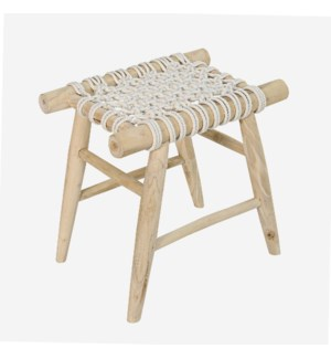 Jalin Wood Stool with Woven Seat, Teak/White