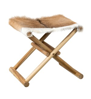 Campaign Folding Stool-Brown&White Leather/Teak