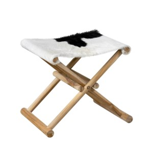 Campaign Folding Stool-White&Black Leather/Teak