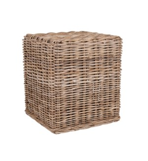 "Delia 16"" Square Woven Stool, Natural"