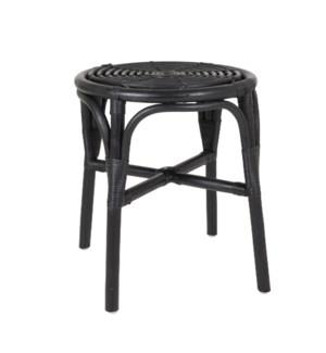 Antik Round Rattan Side Table, Black