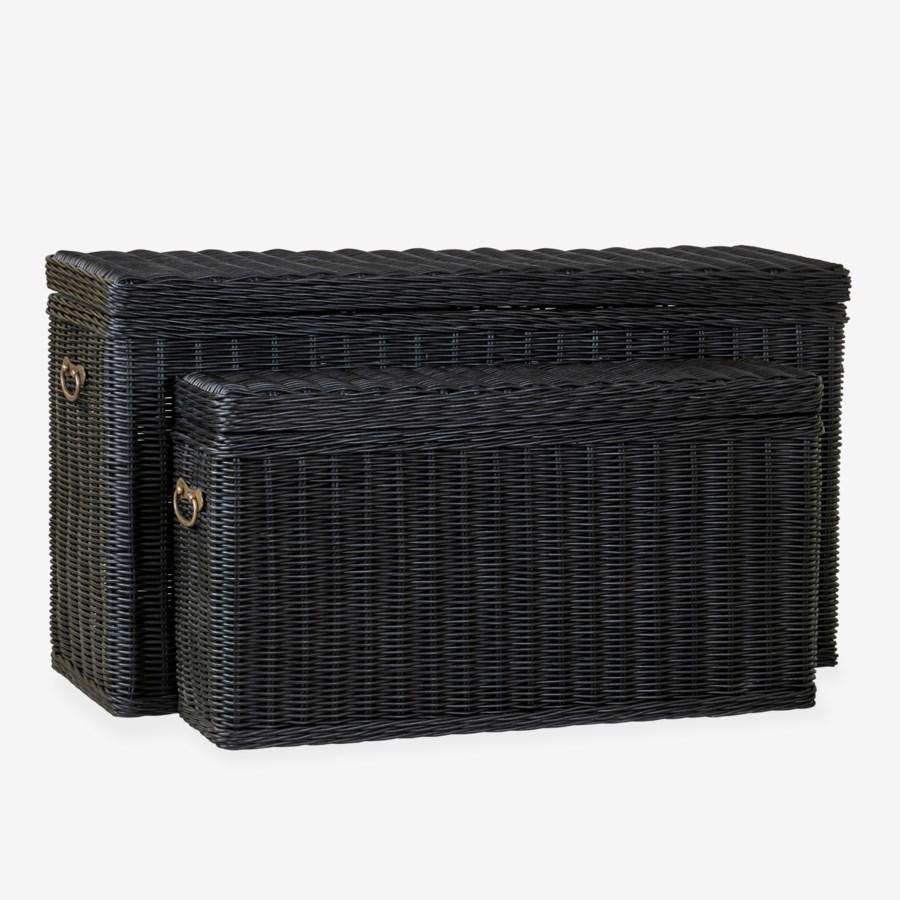 Winslow Woven Storage Console, Black - Set of 2
