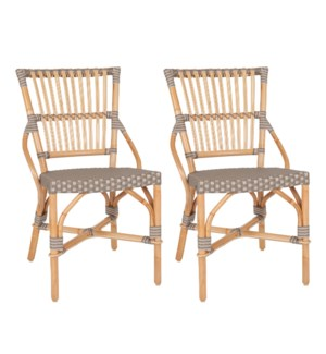 Ria Indoor-Outdoor Bistro Side Chairs (Set of 2), Grey/Natural (2pcs per box, priced per pair)