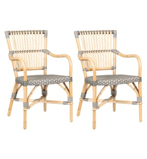 Ria Bistro Outdoor Arm Chair  - Grey/Natural -  MOQ 2 (package: 2pcs/box) price is per piece