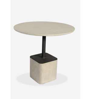 "(LS) Outdoor 31"" Pendulum Shape Fiberglass Reinforced Bistro Table In Grey Concrete Finish (31X31X29"