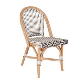 (LS) Outdoor Camelot Bistro Chair with Synthetic Wicker - White Brown-Minimum quantity 2  (17X24X35)
