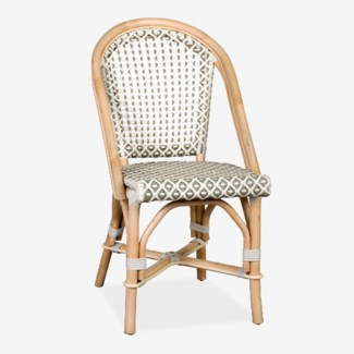 (LS) Outdoor Camelot Bistro Chair with Synthetic Wicker (white grey)-Minimum quantity 2 (17X24X35)