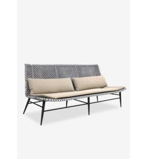 "(LS) Outdoor Garret 72"" Sofa With Two Tone Synthetic Rattan Weave And Taupe Sunbrella Fabric (72X30."