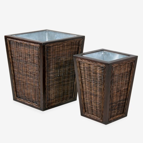 Woodrow Woven Inset Planter Boxes, Brown