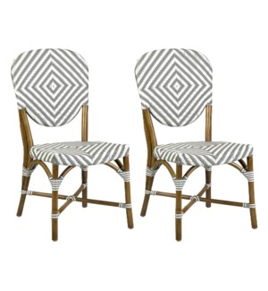 Hamlet Indoor-Outdoor Bistro Chairs (Set of 2), Grey/White (2 pcs per box, priced per pair)