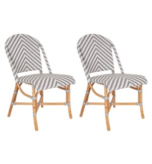 Ezra Bistro Side Chair, Grey and white - MOQ 2 (2 pcs per box) priced per piece
