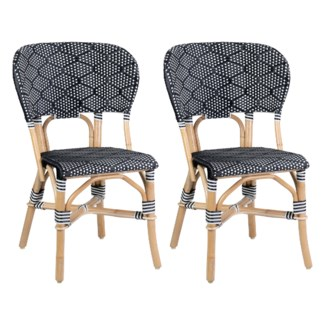 (LS) Flamenco Outdoor Bistro Dining Chair - MOQ 2 - Black/Brown