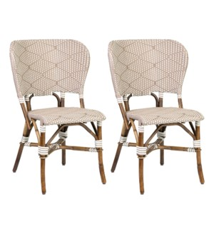 Flamenco Indoor-Outdoor Bistro Dining Chairs (Set of 2), Tan (2 pcs per box, priced per pair)