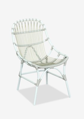 St. John outdoor chair (powdercoated frame and synthetic rattan) -- white/taupe(21.25x27.5x35)