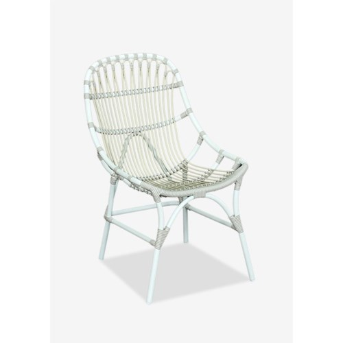 St. John outdoor chair (powdercoated frame and synthetic rattan) -- white/taupe..(21.25x27....